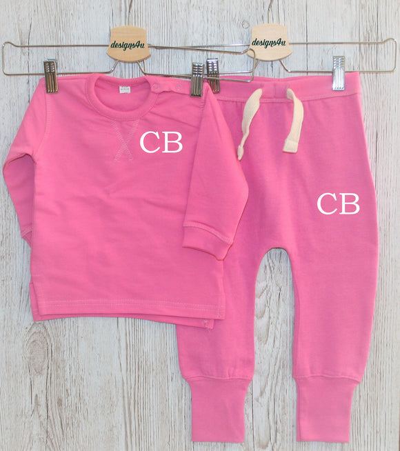 Initial Baby Toddler Track Suit Sweatshirt Personalised