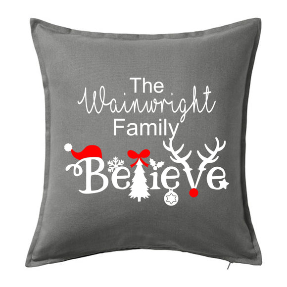 The Family Name Believe - Personalised Christmas Cushion