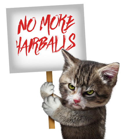 cat holding hairball sign