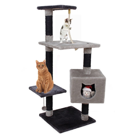 Black Pawz Road Cat Toy & Climbing Furniture | Kitten Training Scratching Tree | Cat Rope Toy On Top Level