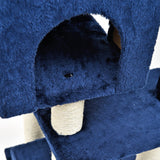 Royal Blue Cat Tree | Dual Cat Houses with Cat Perch and Toy Ball