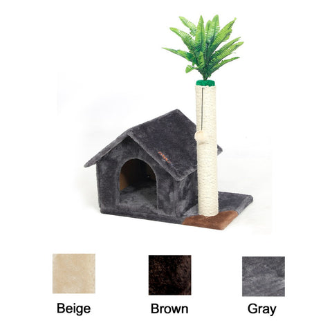 Cat House With Toy Ball and Miniature Fern