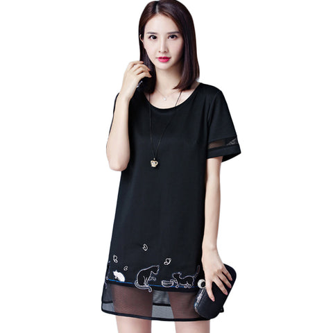 High Quality Mini Straight Dress with Cat Print