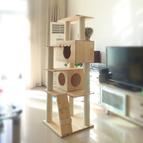 Wooden cat tree with cat scratcher climbing house for for Wooden cat tree designs