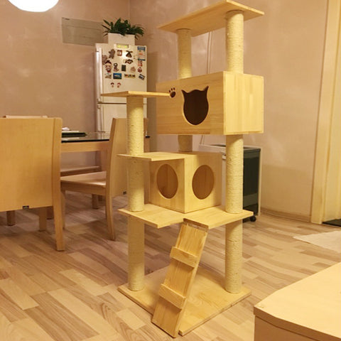 Wooden Cat Tree with Cat Scratcher | Climbing House For Cats with Natural Pine Wood & Sisal Rope