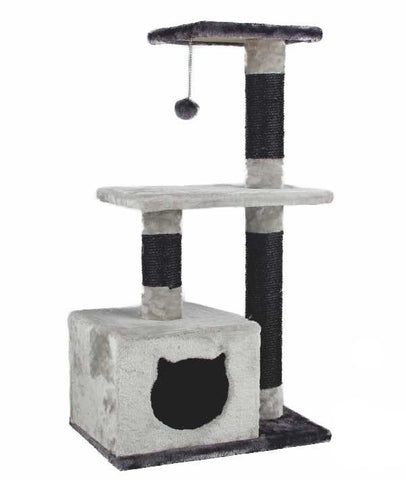 Gray Pawz Road Cat Tree and Scratching Post with Toy Ball | Cats love it!