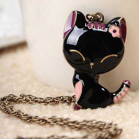 Cat Pendant Necklace Long Chain