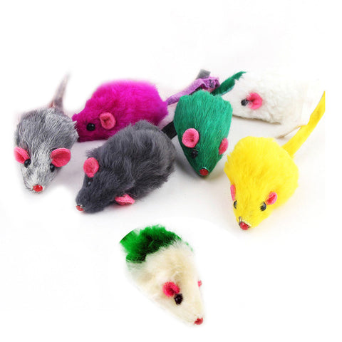 Colorful Interactive Cat Toy | Soft Rabbit Fur Mouse Toy For Cats