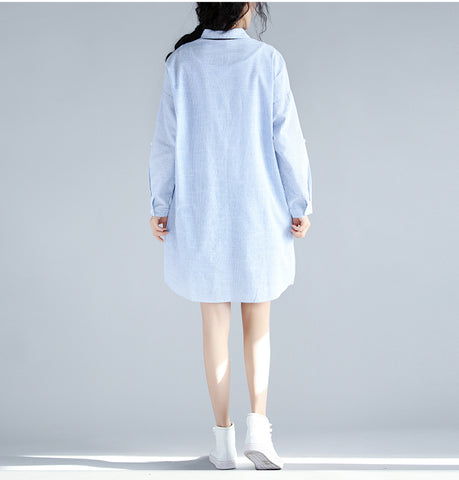 High-Quality Loose Casual Dress with Cat Embroidery