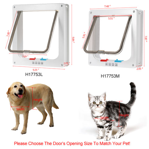 4-Way Locking Pet Door W/ Smart Switch | Lockable Safe Flap Gates