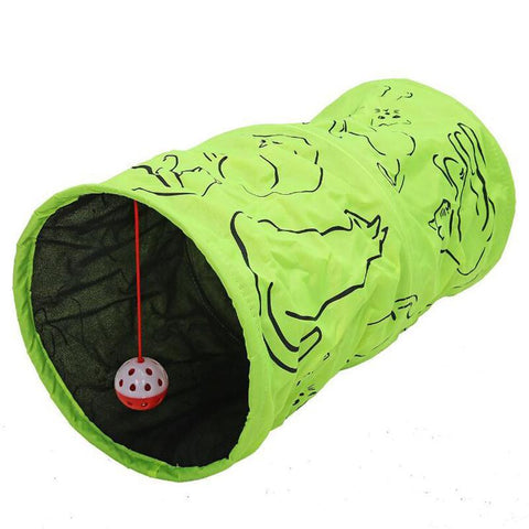 Cat Tunnel | Printed Green Kitten Tunnel Toy With Ball
