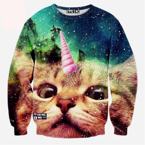 Cat Pullover | Cat in a Galaxy Sweater
