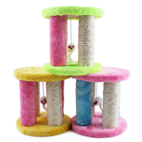 Cat Climbing Frame with Scratching Post and Hidden Mouse | Colourful Cat Scratching Post