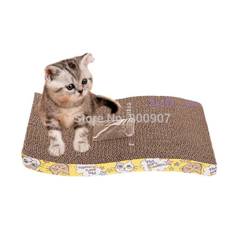 S-Shaped Paper Mill Scratch Cat Bed | Protect Cat Paw Furniture Catmint Litter Catnip