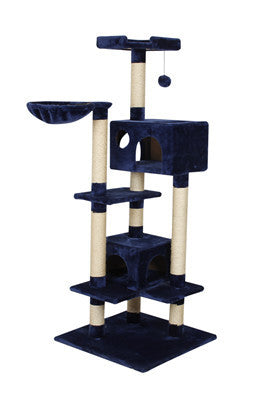 Premium Blue Cat Tree | Wood Climbing Tree with Balls, House and Scratching Post for Feline Fun!