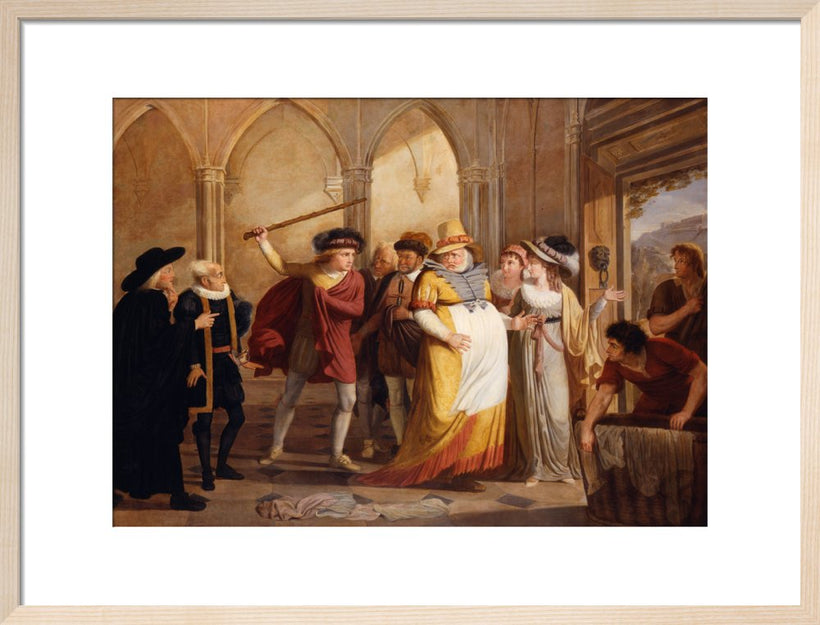Scene in 'The Merry Wives of Windsor' (from Act IV, Scene 2 of the play by William Shakespeare)