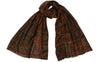 Brown & Orange Trapani Silk Wool Scarf