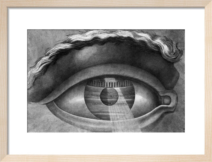 The interior of the theatre at Besancon reflected in the pupil of an eye, 1804