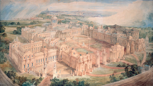 Bird's-eye view of [John Soane's design for] a Royal Palace for Green Park