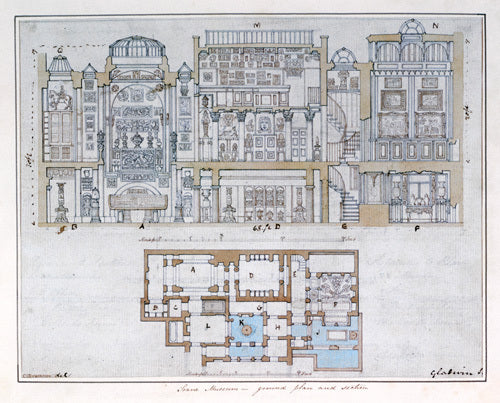 Cross-section through and plan of Sir John Soane's Museum, 1827