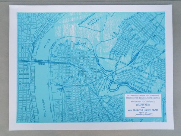 Screen Prints of Official Blueprint for Construction of the Delaware Bridge (Ben Franklin Bridge)