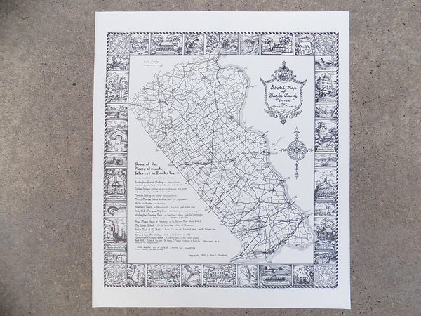 1952 Sketch Maps of Bucks County PA Print, by Anne L. Chestnut