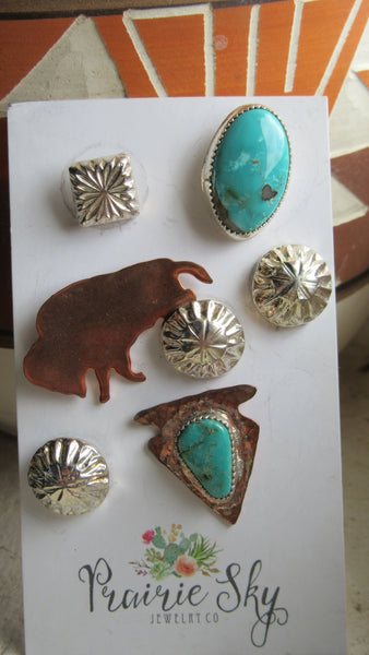 Turquoise and Buffalos Pin Set