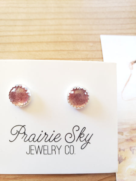 Prairie Sky Jewelry Strawberry Quartz Studs