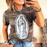 Camo Our Lady of Guadalupe Tee