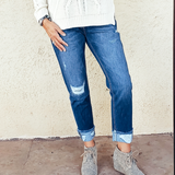 The Kancan High Rise Hem Detail Boyfriend Jean