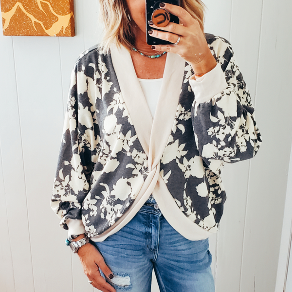 The Dixie Floral Twist Front Top