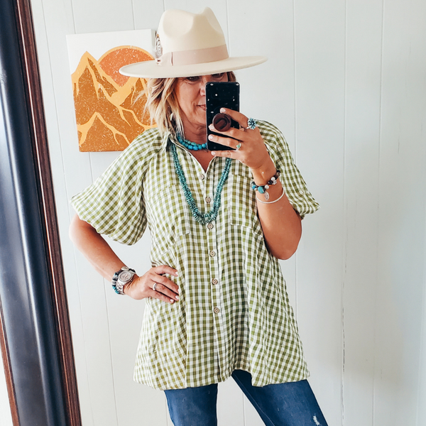 The Pacey Gingham Swing Top