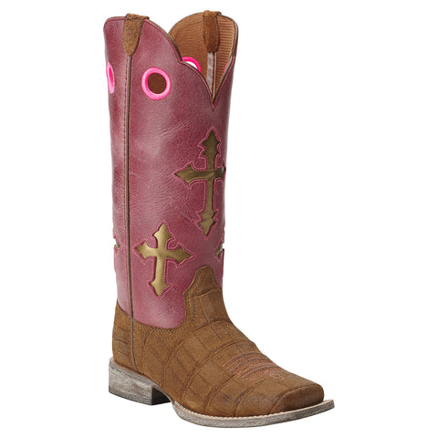 Kid's Ariat Ranchero Boots Distressed Brown and Gator Print #10014121