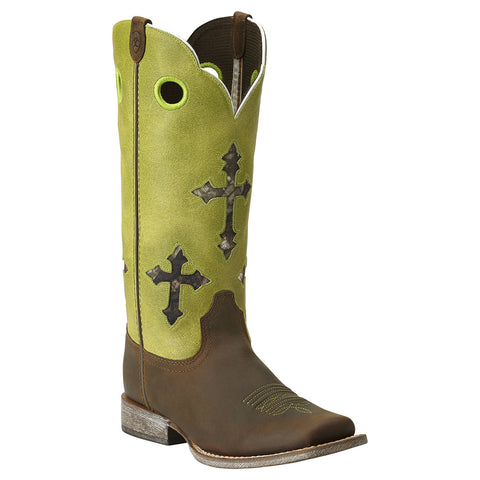 Kid's Ariat Ranchero Boots Powder Brown and Lime #10014122
