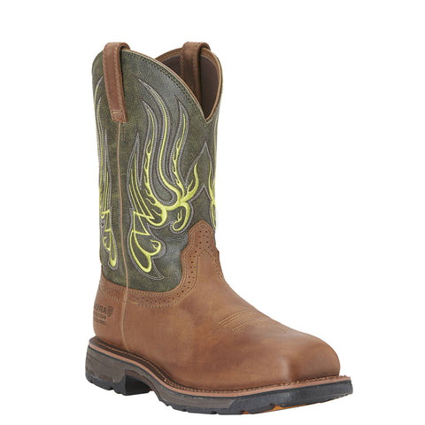 Men's Ariat Boots Workhog Mesteno Waterproof Composite Toe Rust/Moss Green #10015400