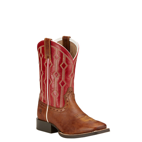 Kid's Ariat Live Wire Boots Wood/Mega Red #10017316