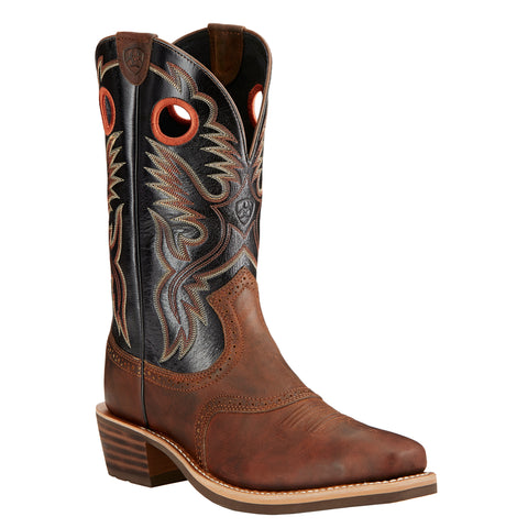Men's Ariat Boots Heritage Roughstock Bar Top Brown and Black #10017378