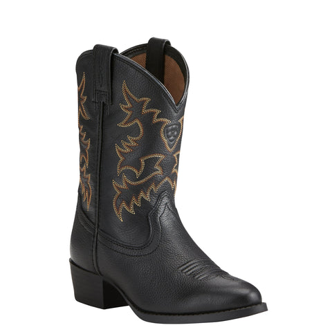 Kid's Ariat Heritage R Toe Western Boot Black #10021609