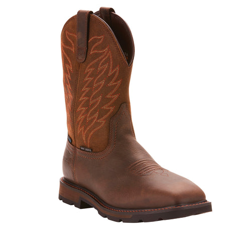 Men's Ariat Groundbreaker Waterproof Steel Toe Work Boot Brown #10024992