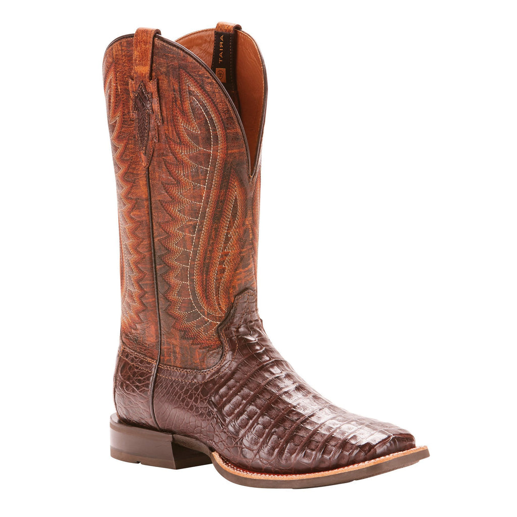 Men's Ariat Double Down Boot Antique Pecan Caiman Belly #10025088 view 1