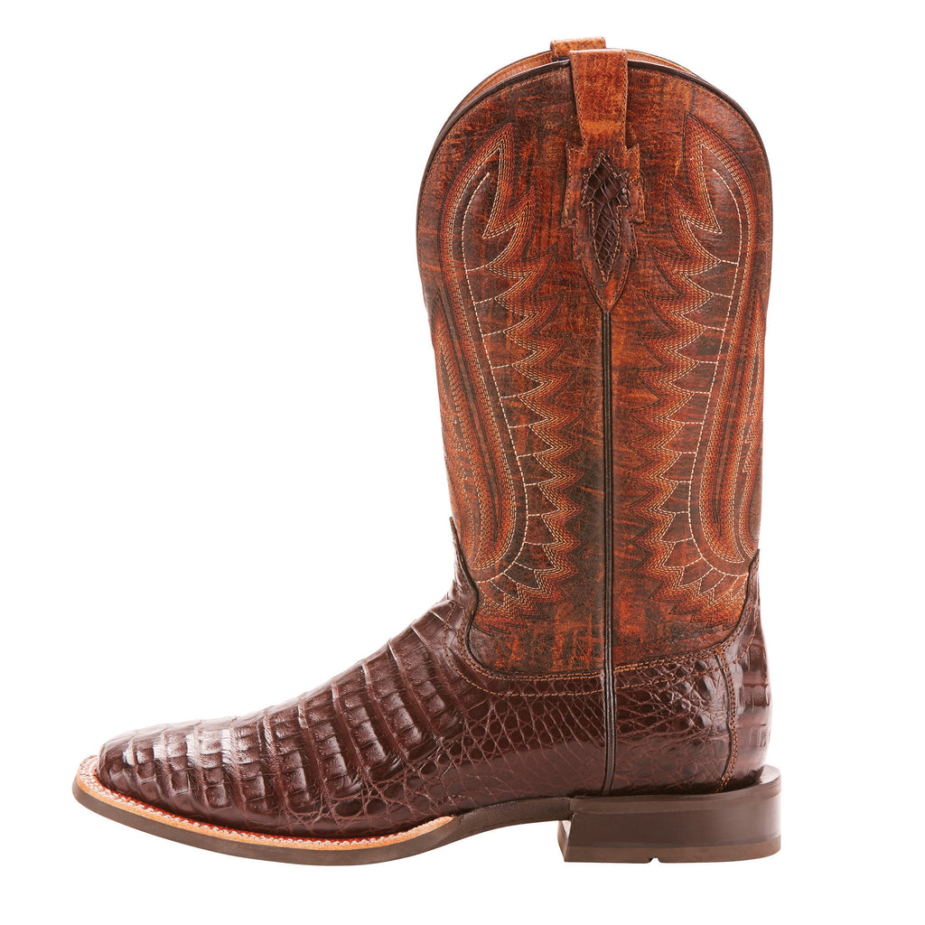 Men's Ariat Double Down Boot Antique Pecan Caiman Belly #10025088 view 2