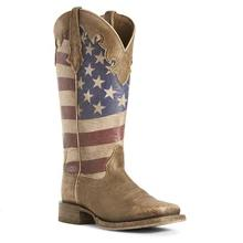 Women's Ariat Stars and Stripes Boots Naturally Brown #10027254