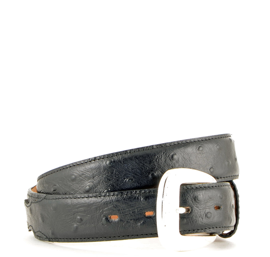 Brighton Leegin Black Ostrich Print Belt #1373L view 1