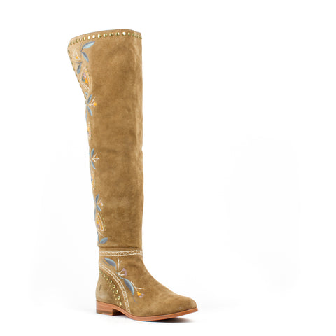 Women's Frye Tina Embroidery OTK Boots Sand #72246-SND