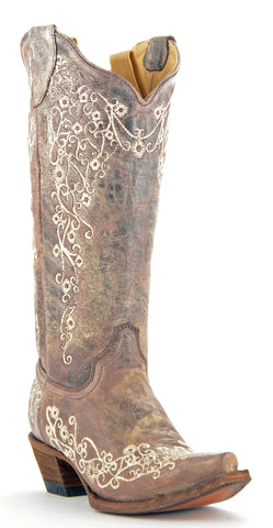 Women's Corral Crater Boots Bone and Brown #A1094