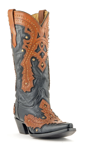 Women's Corral Overlay Boots Black/Brown #A1199