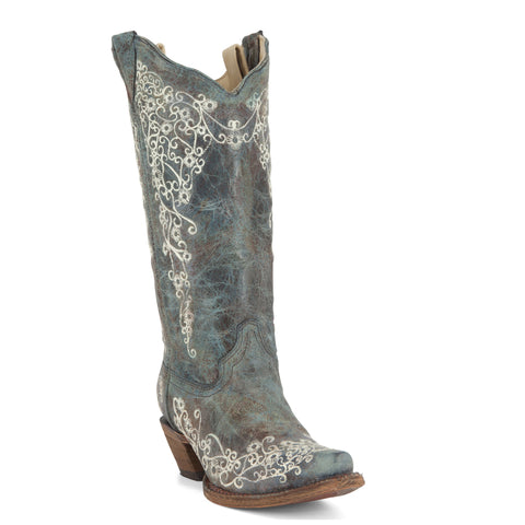 Women's Corral Brown/Turquoise Embroidery Boots #A3159