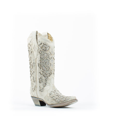 Women's Corral Glitter Inlay with Crystals Boots White #A3322