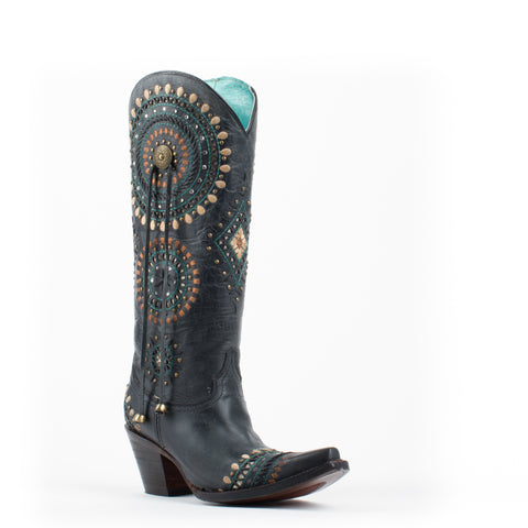Women's Corral Black Embroidery with Studs Boots #A3525