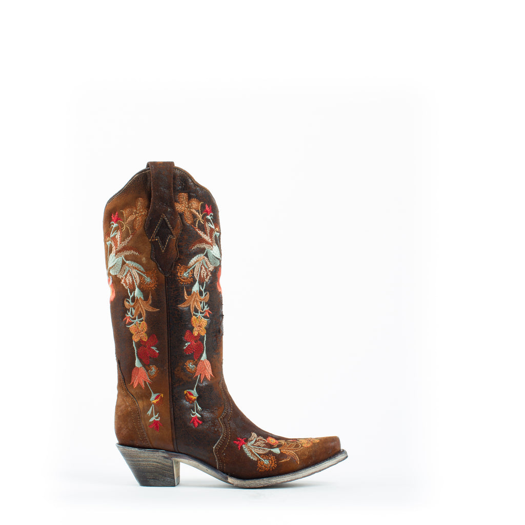 Women's Corral Lamb Floral with Embroidery Boots Chocolate #A3597 view 4